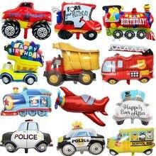 DIY Мультяшные автомобильные воздушные шары пожарная машина поезд Фольга шар скорая помощь Globos детские подарки День Рождения украшения Детские шары
