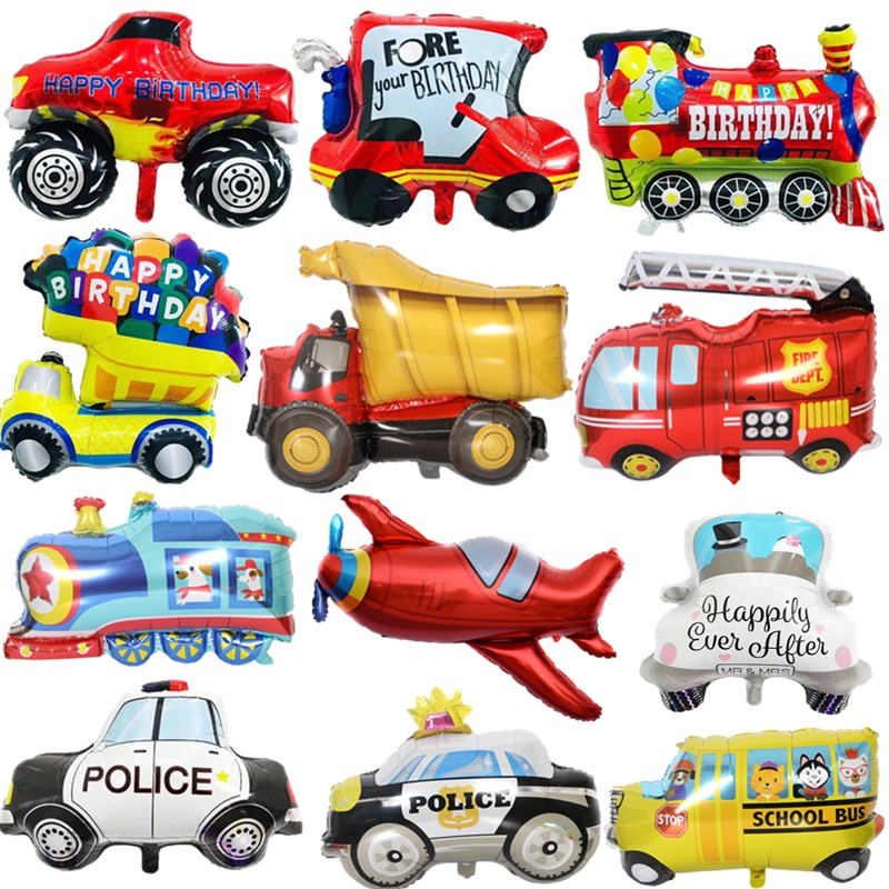 DIY Cartoon Car Balloons Fire Truck Car Train Foil Balloon Ambulance Globos Children Gifts Birthday Party Decorations Kids balls(China)
