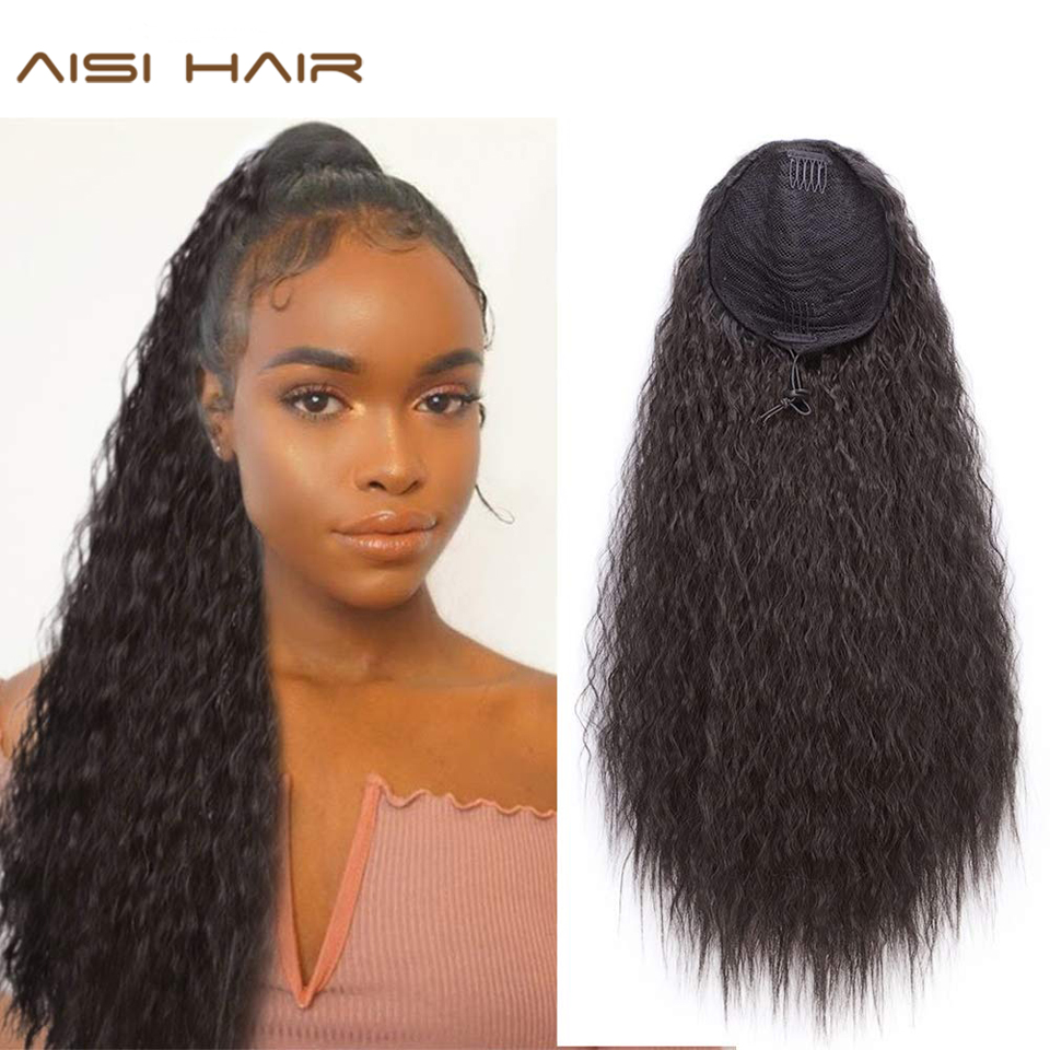 AISIHAIR Long Kinky Curly Ponytail Extension 22 Inch Synthetic Drawstring Corn Hair Pieces Clip In Ponytail For Women Black