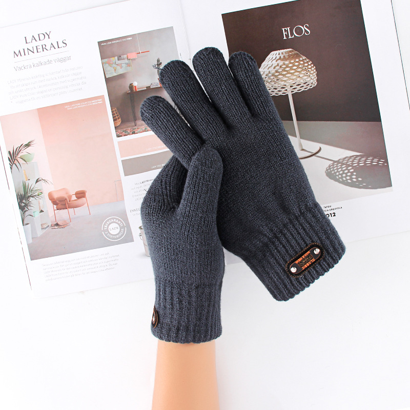 Winter Knitted Gloves Men's Thermal Soft Lining Elastic Cuff Acrylic Thickened Double Layer Warm Gloves Outdoor Sports For Men