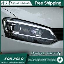 AKD автомобильный Стайлинг для 11-18 VW Polo фары Polo светодиодный фары DRL Биксеноновые линзы Высокий Низкий луч парковка Противотуманные фары аксессуары