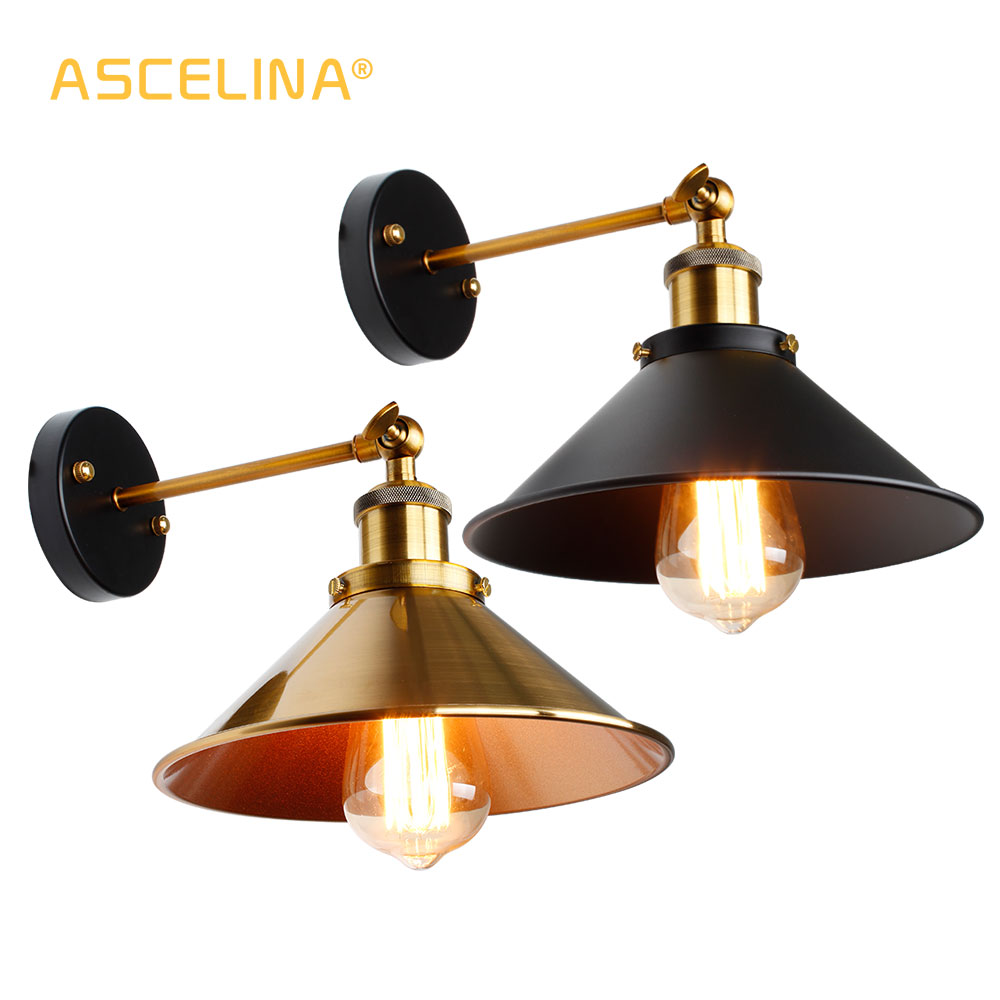 Vintage Loft Led Wall Lamp For Home Industrial Decor Retro Bathroom Lighting Iron Lampshade E27 Edison Wall Light Fixtures