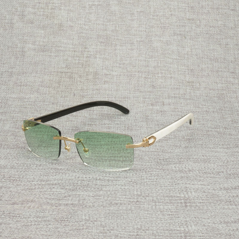 Vintage Natural Buffalo Horn Sunglasses Men Vintage Wood Eyewear Square Rimless Frame for Women Outdoor Shades Oculos Gafas 012N