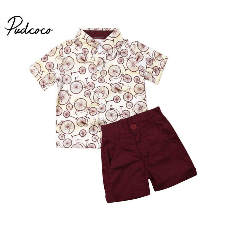 2019 Summer new Clothing Sets boy Cotton casual children's wear Baby Boys Dress shirt+ Shorts Pants 2 Pcs Clothes Sets