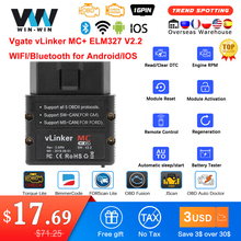Vgate vLinker MC + ELM327 Bluetooth 4.0 OBD 2 OBD2 ELM 327 wifi araç teşhis için Android/IOS tarayıcı otomatik aracı PK OBDLINK V 1 5