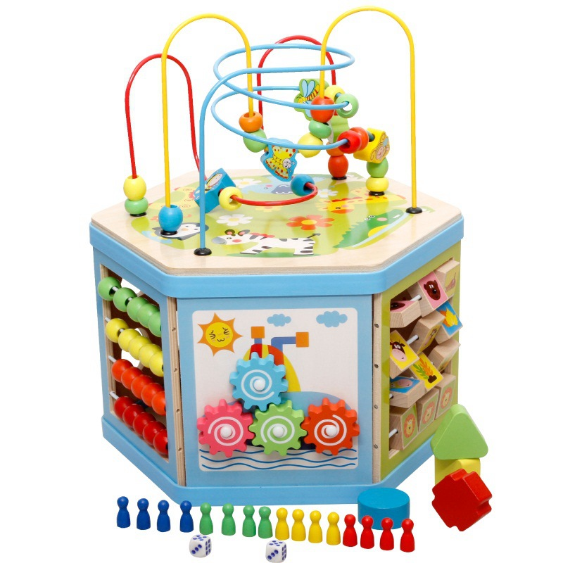 Children Kids Toy 1-2-3 A Year Of Age Educational Force Men And Women Baby Early Childhood Building Blocks String Bead-stringing