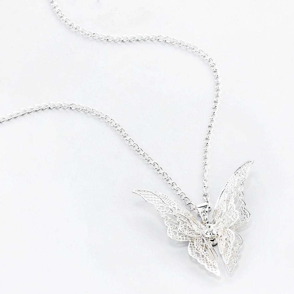 2020 High Quanlity Women Lady Elegant Openwork Butterfly Pendant Long Chain Necklace Sweater Accessories Necklace Jewelry 4
