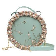 2019 new Korean flower lace lady shoulder bag fashion pearl chain small round bags Bud silk cross body female handbags for girls