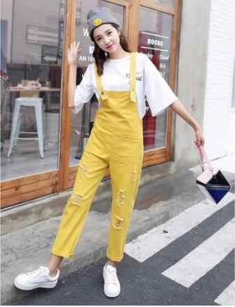 Letnie jesienne kombinezony dżinsowe damskie luźne jeansy pajacyki damski kombinezon dżinsowy w stylu casual, z dziurami czarny/biały/różowy/żółty kombinezon kieszenie