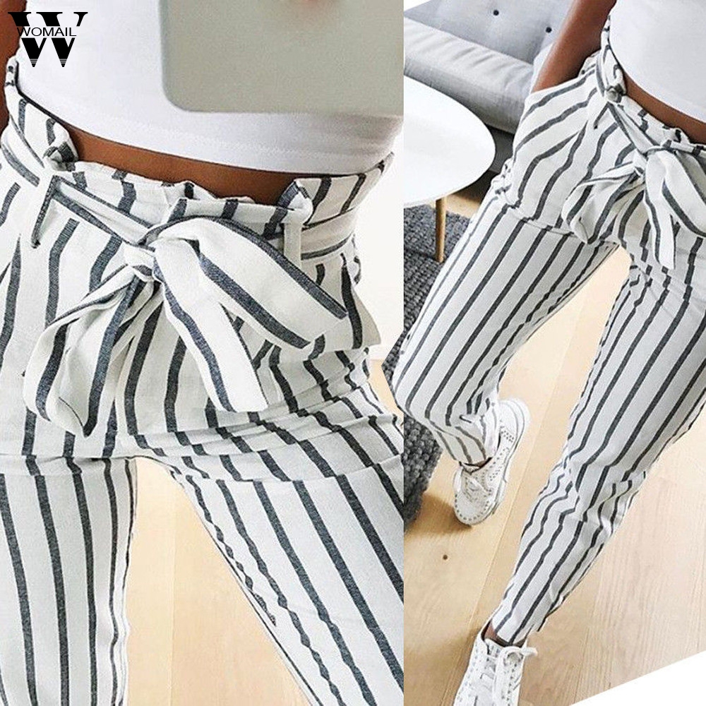 Womail Womens Pants Jeans Skinny Long Striped High-Waist Tie S-2XL title=