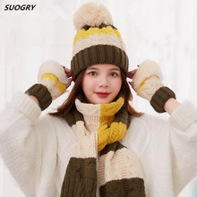 SUOGRY Dropshipping 3 pieces Women Hat Scarf and Glove Sets Winter Knitted Fur Cap Knitting Warm Thick Gloves f