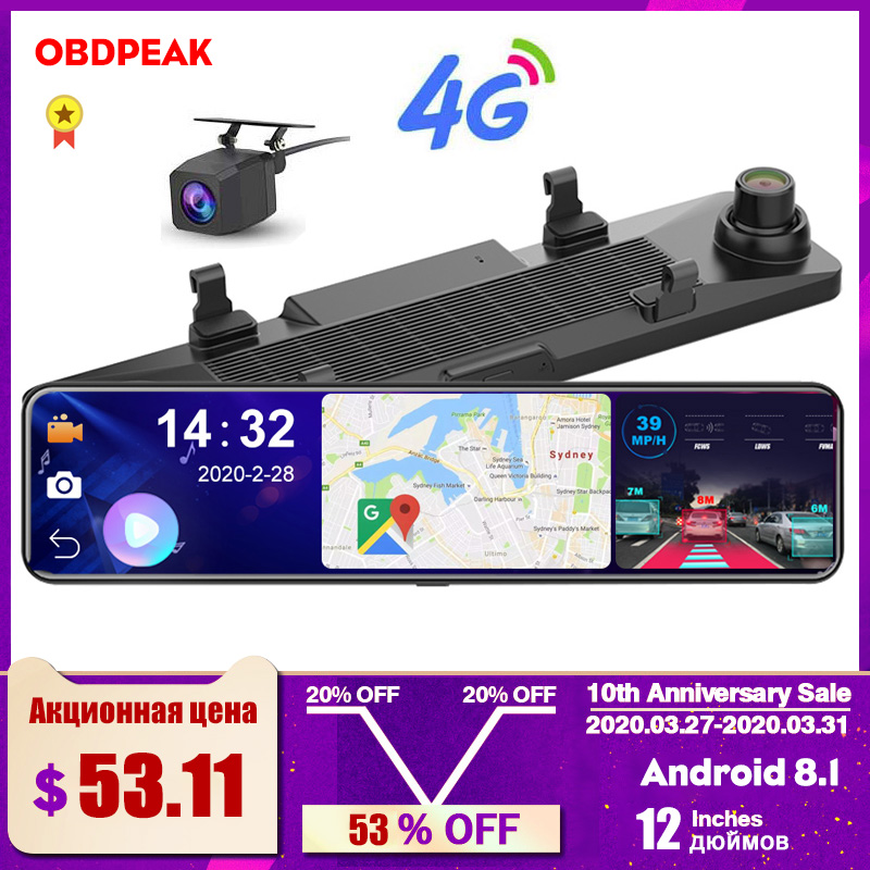 "OBEPEAK D80 12"" Car Rearview Mirror 4G Android 8.1 Dash Cam GPS Navigation ADAS Full HD 1080P Car Video Camera Recorder DVR 1"