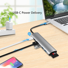 Laptop Docking Station Power Adapter 8 in 1 USB-C HUB Converter 4 5Gbps USB 3.0 4K HDMI-compatible PD SD TF Card Reader