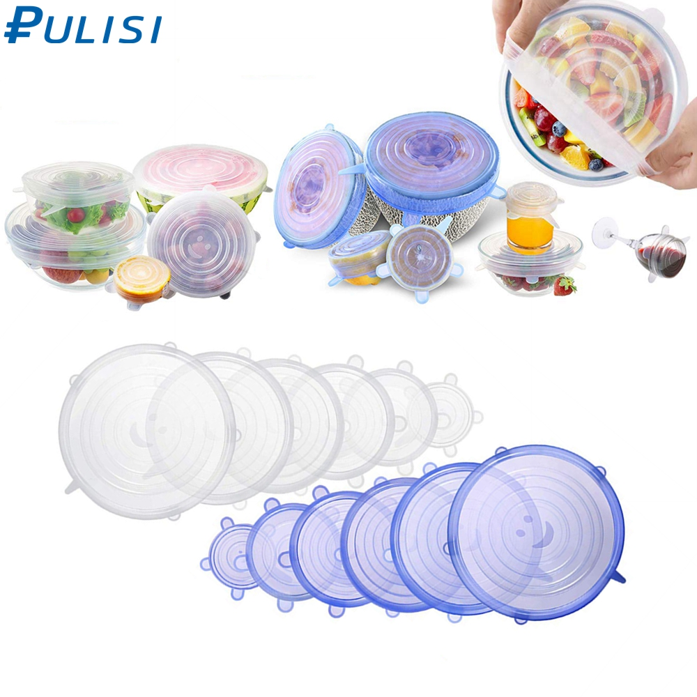 6 Pack Silicone Stretch Lids  Reusable Durable Expandable Great for Keeping Food and Drinks Fresh, Dishwasher and Freezer Safe