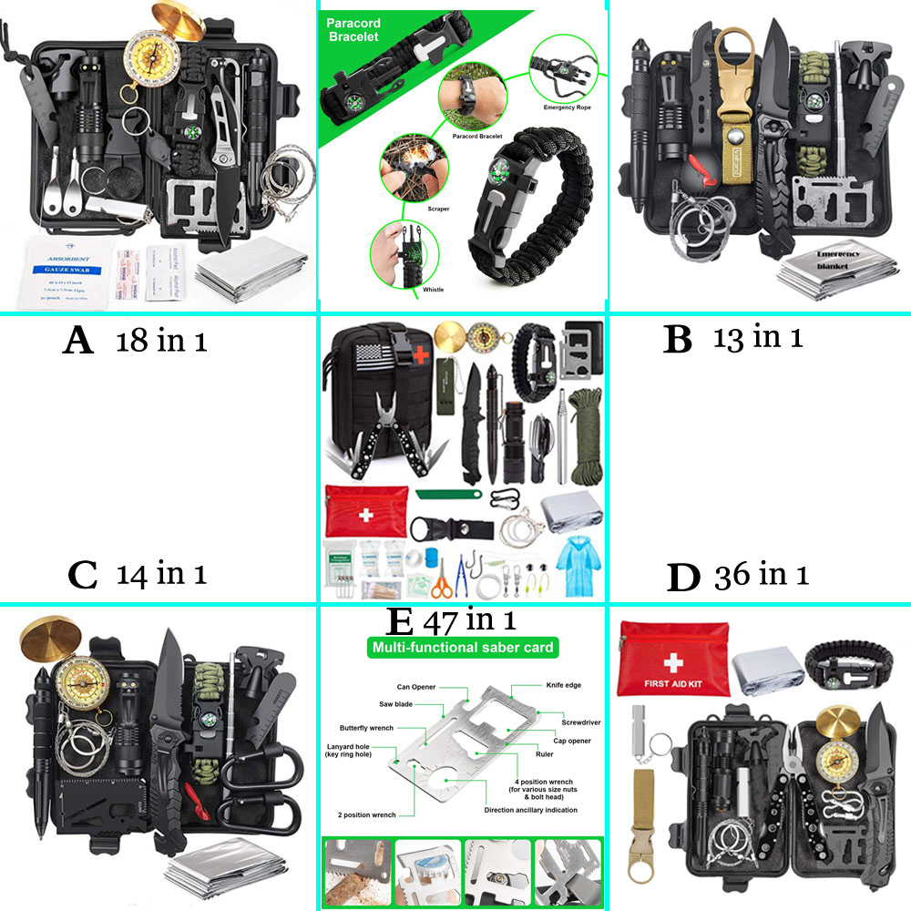 5 types Emergency Survival Gear Kit first aid kit SOS Tactical tool Kit Knife Flashlight with Molle bag for Camping Hiking
