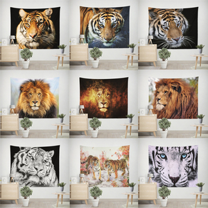 Image 1 - Lion Tiger Tapestry Colorful Animal Tapestry Wall Hanging Lion and Tiger Printed Decoration