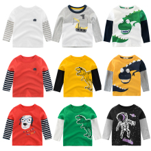 Boys T Shirt Tops Long-Sleeve  Toddler Baby Girls Kids Children Cotton Fashion Autumn Spring Print Car for 2 3 4 5 6 7 8 Years