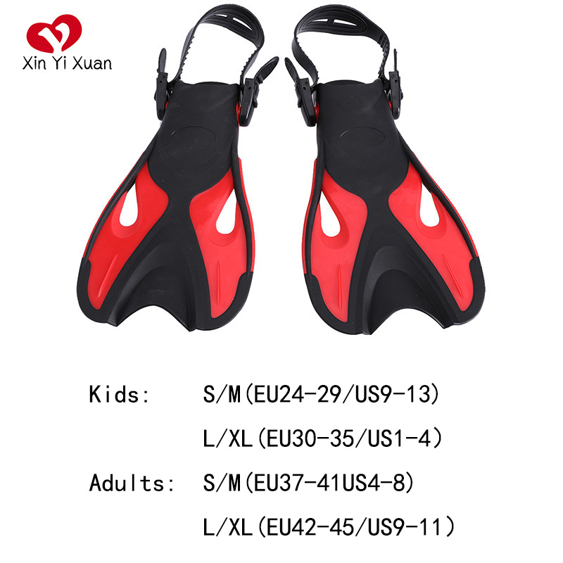 Dive Fin Adjustable Swimming Free Diving Foot Fins Scuba Snorkeling Silicone Swim Flippers For Kids Children Adults Long Heels