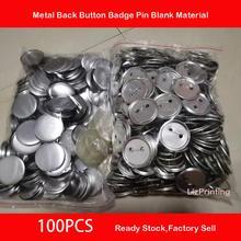37 мм Металлическая Задняя зеркальная кнопка, булавки, пустое сырье, булавки, пуговицы, значки, детали, 100 шт.
