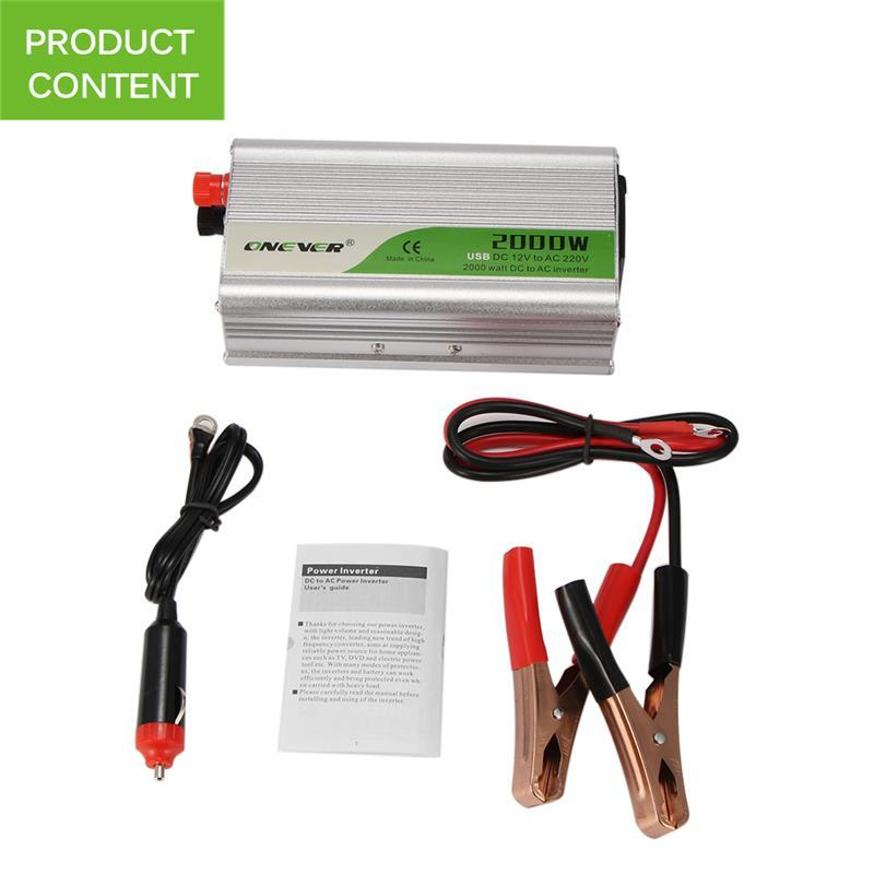 2000W USB Charge Watt DC 12V To AC 220V Portable Car Power Inverter Charger Converter Adapter DC 12 To AC 220 Buzzer Alarm