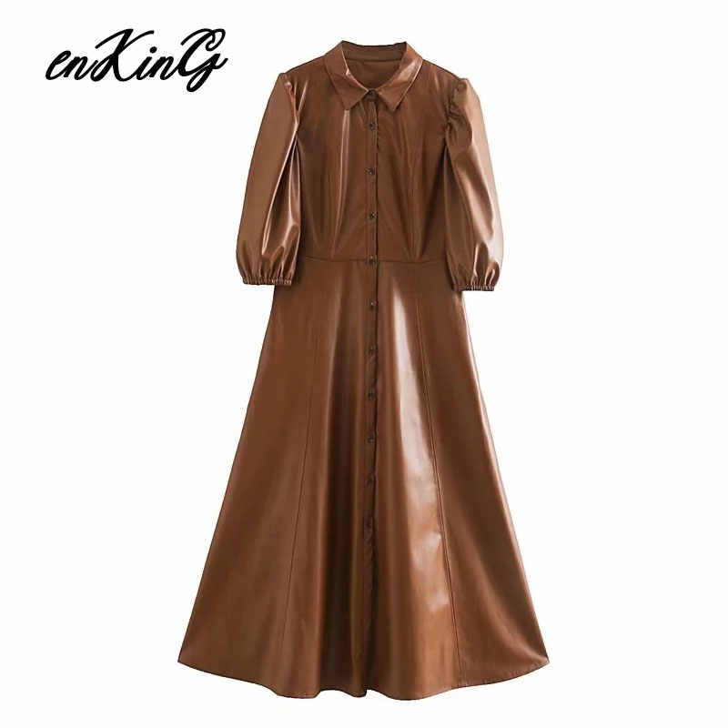 Enking 2020 Lente Engeland Elegante Vintage Bladerdeeg Mouw Lederen Pu Vrouwen Jurk Vestidos Vestidos De Fiesta De Noche Midi Jurk