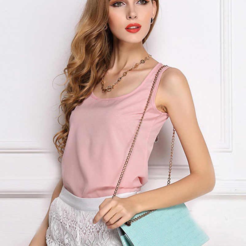 Nieuwe Casual Mode Tank Zomer T-shirt Vest Tops Chiffon Vrouwen Mouwloze Casual Katoen O-hals Mode Effen Mouwloze