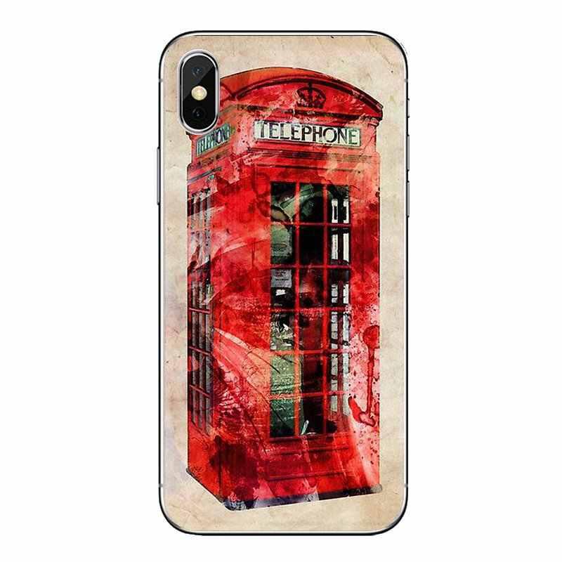 London Cabine Telefônica vermelha Caixa Para Samsung Galaxy J1 J2 J3 J4 J5 J6 J7 J8 Plus 2018 Prime 2015 2016 2017 Tampa da Caixa Do Telefone Móvel