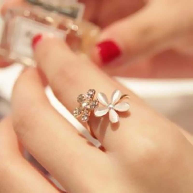 ขายร้อนแฟชั่นเครื่องประดับแหวนสีดำ Rose ดอกไม้เปิดแหวนดัชนีนิ้วมือปรับแหวนสำหรับหญิงสาวของขวัญ