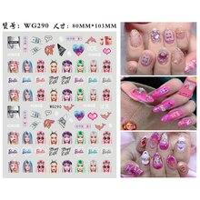 Bag Repair-Tool Nail-Art-Sticker Character Designer Cartoon Fashion Girl 10pcs WG286
