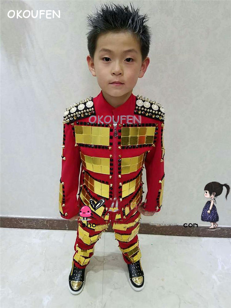 Customized Royal style gold lens jacket costumes Nightclub male singer dancer kids stage show performance costumes