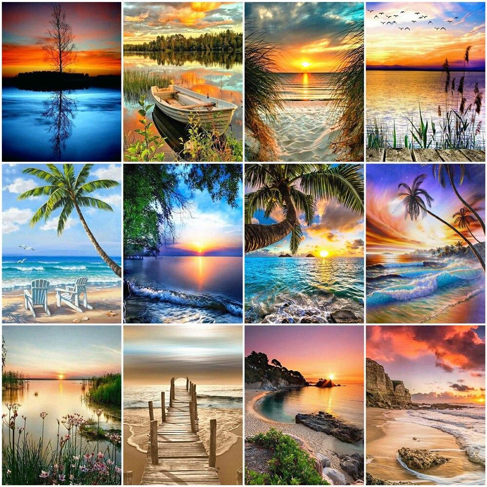 HUACAN numbrite järgi maalimine  / maalimiskomplekt / erinevad mereäärsed maastikuvaated  / 12 erinevat pilti / 40 x 50cm ilma raamita