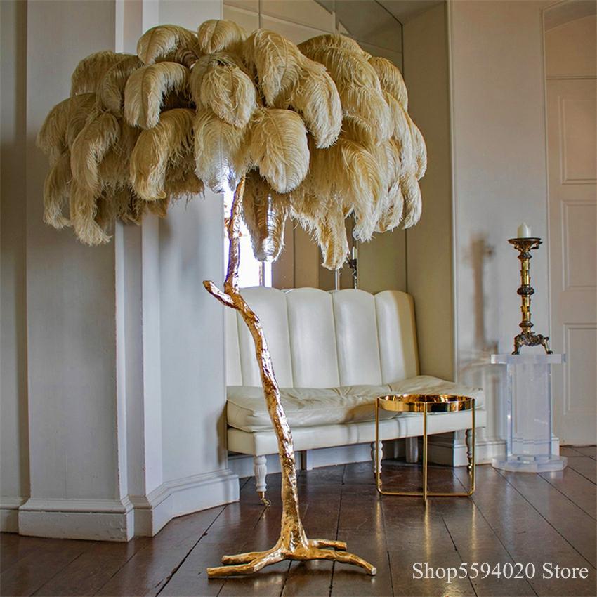 Modern Ostrich Hair LED Floor Lamps  Hotel Living Room Led Ostrich Hair Floor Light Standing Lamp Lampadaire De Salon Lighting