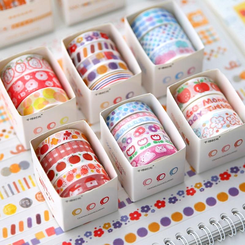 3/5 Rolls Cartton Colorful Pattern Masking Washi Tape Set Decoration Diary Journal Scrapbooking Planner Label Sticker Stationery