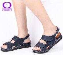 AIMEIGAO プラスサイズカジュアル女性のサンダルの靴快適なフラットハイヒールの靴通気性屋外ローヒールコンフォートシューズ 2019 新