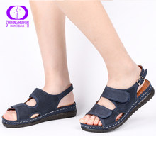 AIMEIGAO Plus Size Casual Women Sandals Shoes Comfortable Flats Heels Shoes Breathable Outdoor Low Heel Comfort Shoes 2019 New(China)