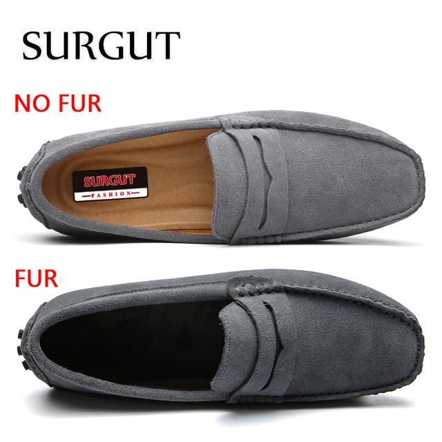 SUGRUT Men Casual Shoes Fashion Men Shoes Genuine Leather Men Loafers Moccasins Slip On Men's Flats Male Driving Shoes Size 49 2