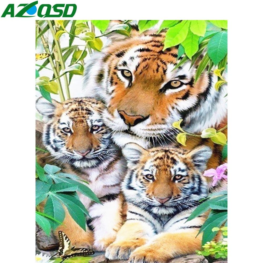 5D Diamond Embroidery Animal Tiger Cross Stitch DIY Diamond Painting Full Diamond scenery rhinestones Home Decor gift