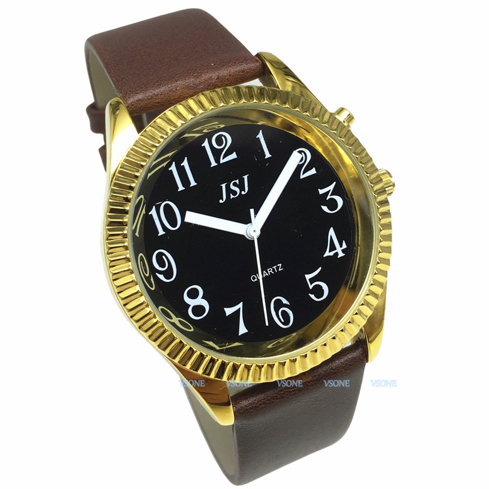 English Talking Watch With Alarm Function, Talking Date And Time, Black Dial, Brown Leather Band, Golden Case TAG-306