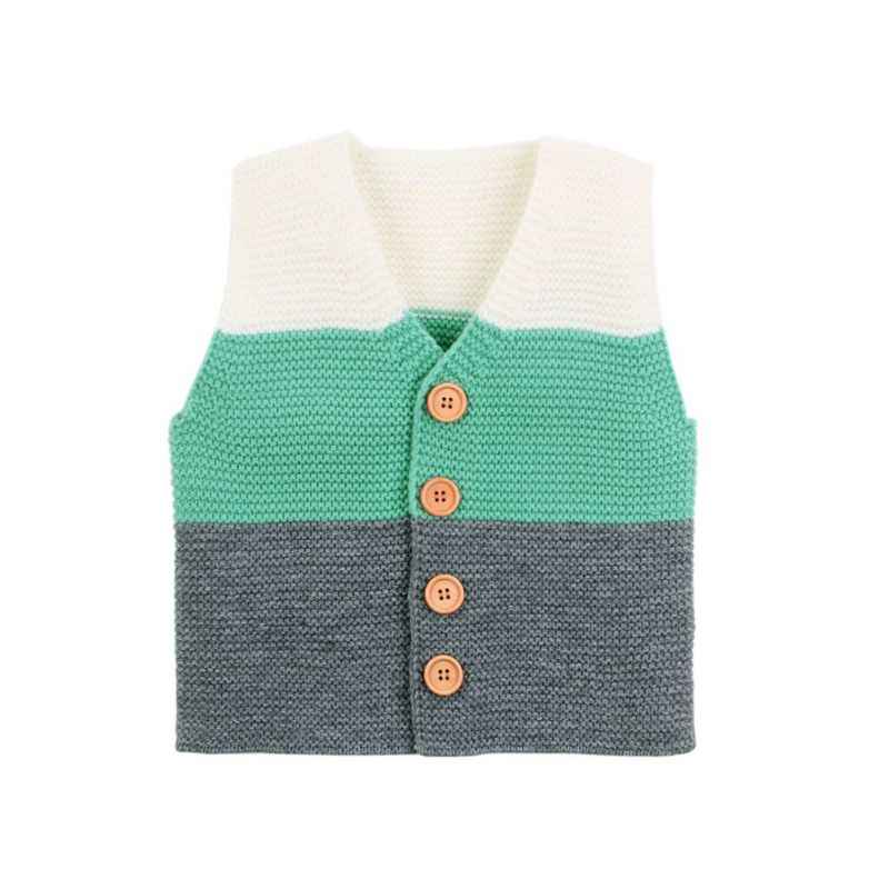 Herbst Kinder Baby Mädchen Jungen Gestreiften Weste Pullover Ärmellose Strickjacke Tops Mantel Oberbekleidung
