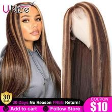 Кости прямые волосы 13x4 Выделите Синтетические волосы на кружеве парики из натуральных волос на кружевной Мёд наращивания блонд, коричневый...