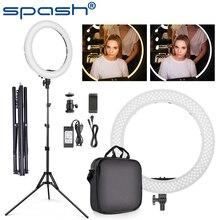 Spashリングライト18インチ三脚リングランプ調光リング3200 18k 5500 18kバイ色youtubeのスタジオの写真撮影の照明