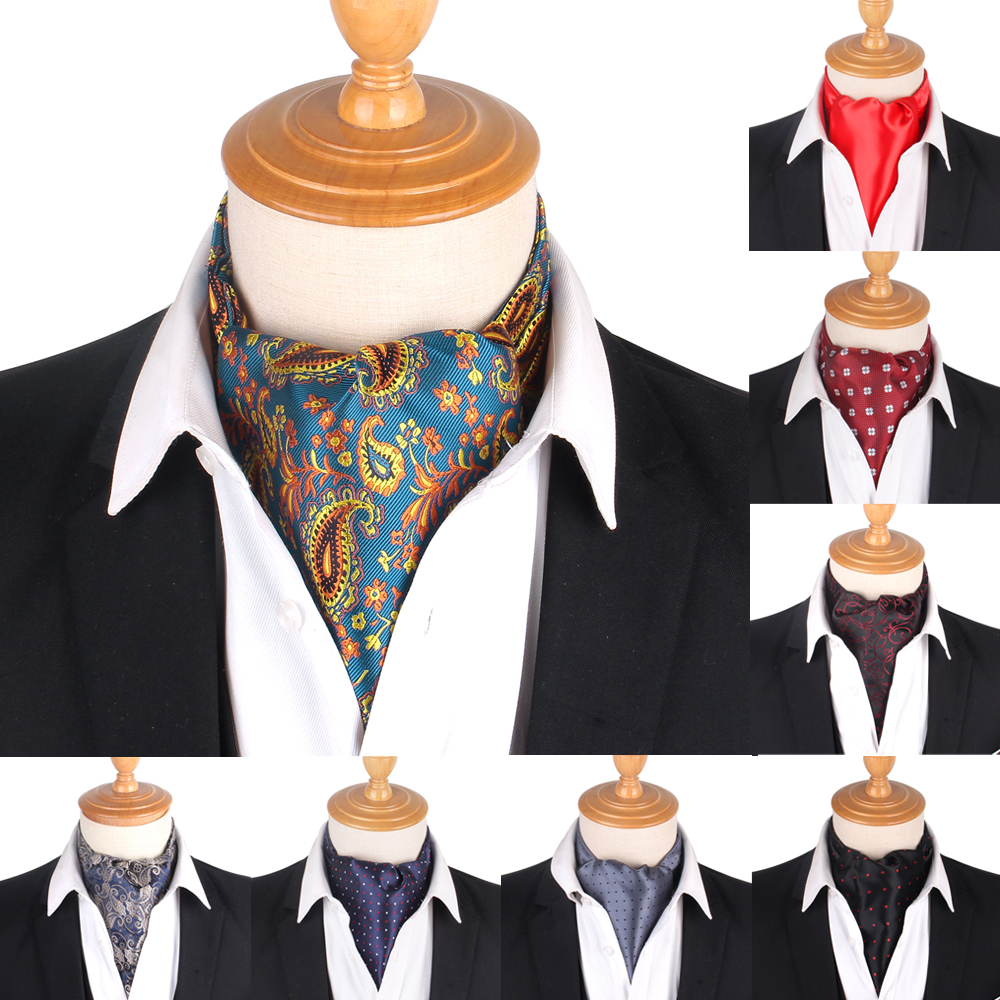 Paisley Men Cashew Tie Wedding Formal Cravat Ascot Scrunch Self British Gentleman Polyester Woven Neck Tie Luxury