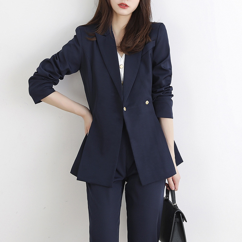Office Ladies Notched Collar Women Blazer Double Breasted Autumn Jacket with Waistband Korean Style Casual Female Suits Coat