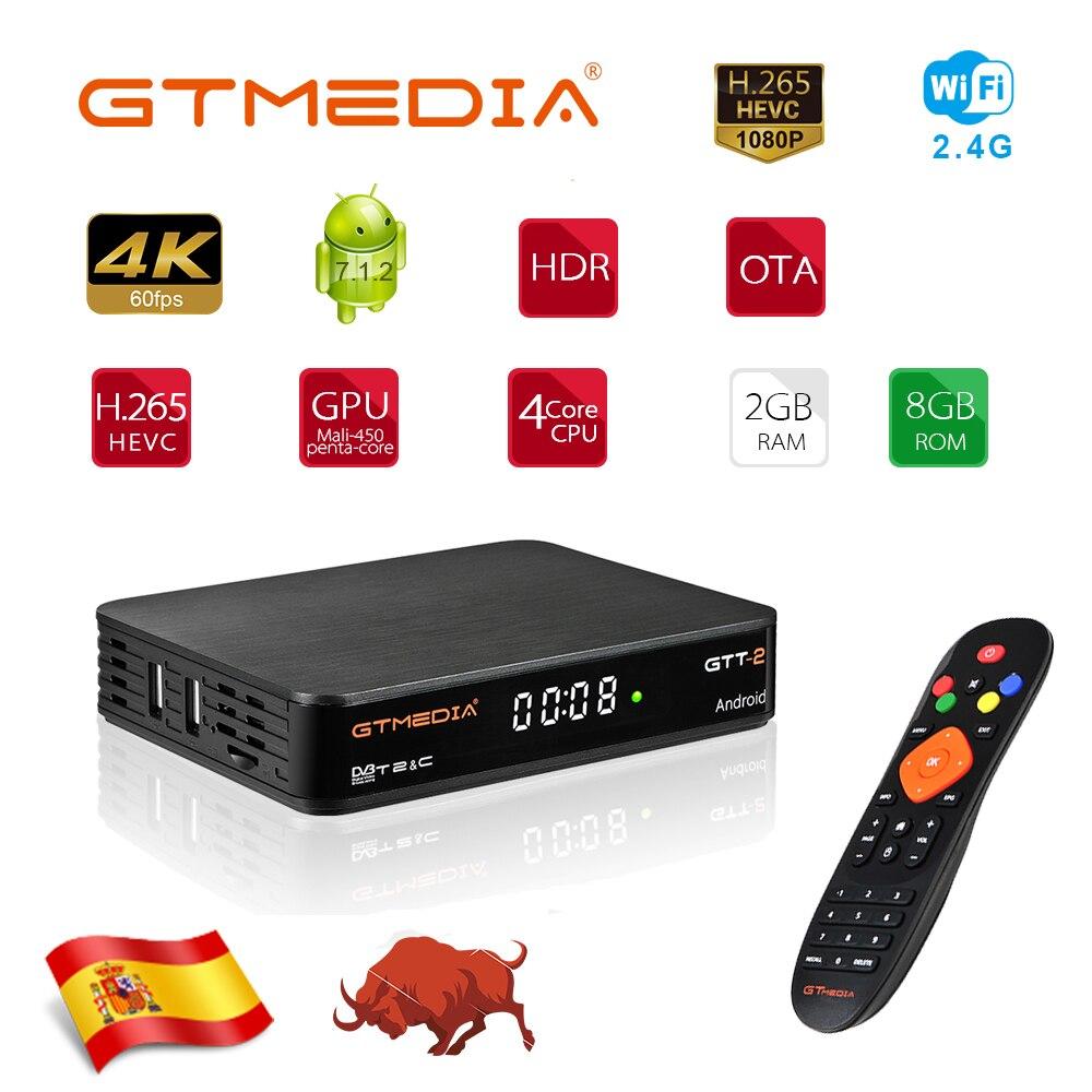 GTMedia GTT2 Android Tv Box Ethernet Free IPTV World Channels Firmware Upgrade DVB-T2/Cable Support H265 4K Netflix Smart Tv Box