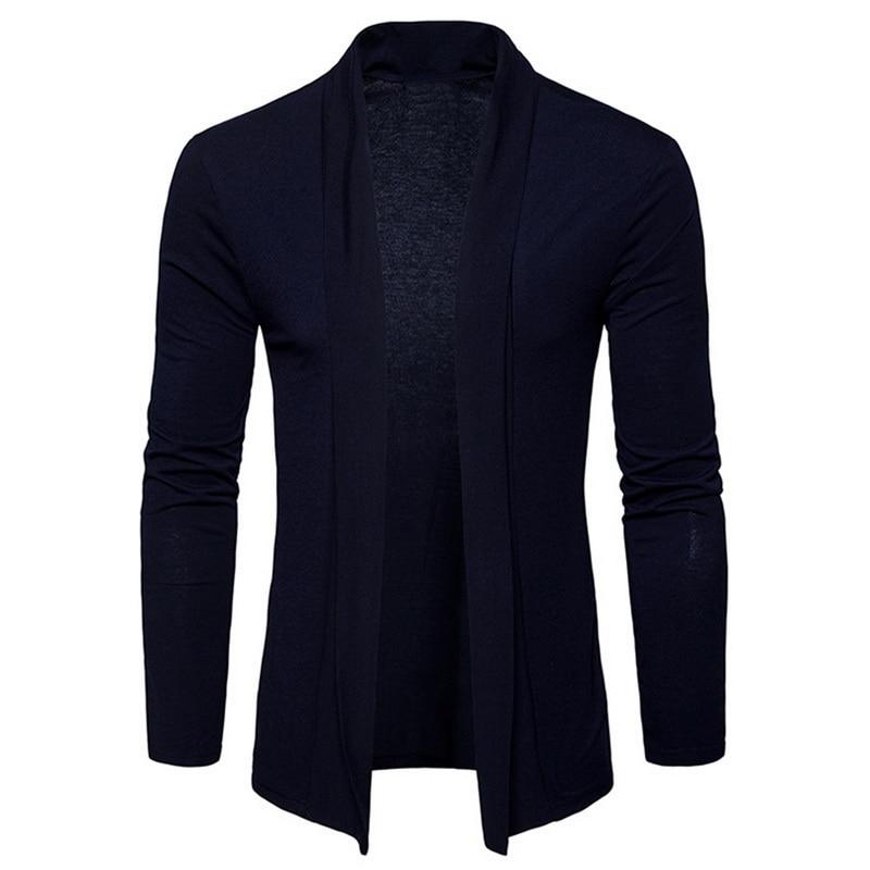 NEGIZBER 2019 Autumn Mens Cardigan Solid Slim Fit Long Cardigan Sweater Men Fashion 100 Cotton Cardigan Men Streetwear US Size