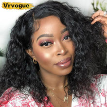 Short Bob Wigs Water Wave 4x4 Lace Closure Wig Human Hair Wigs Perruque Cheveux Humain Natural Bleached Knots 150% Remy Vrvogue