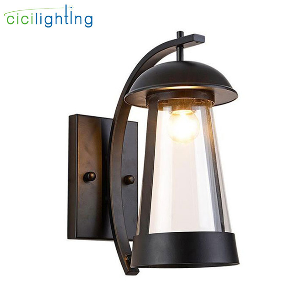 Modern clear glass shade outdoor wall lamp villa balcony porch corridor wall sconce gateway yard street garden black fence light|LED Outdoor Wall Lamps| |  - title=