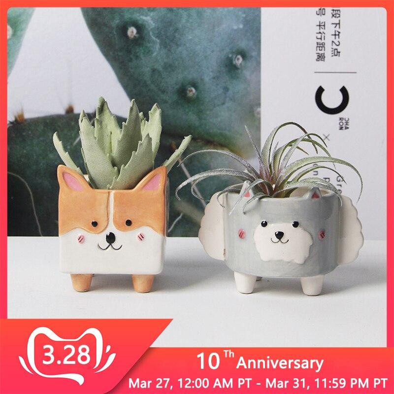 Cartoon Animal Ceramic Flowerpot Sheep Corgi Flower Pot Succulent Cactus Plant Pots Home Decor Crafts Sculpture Garden Ornaments