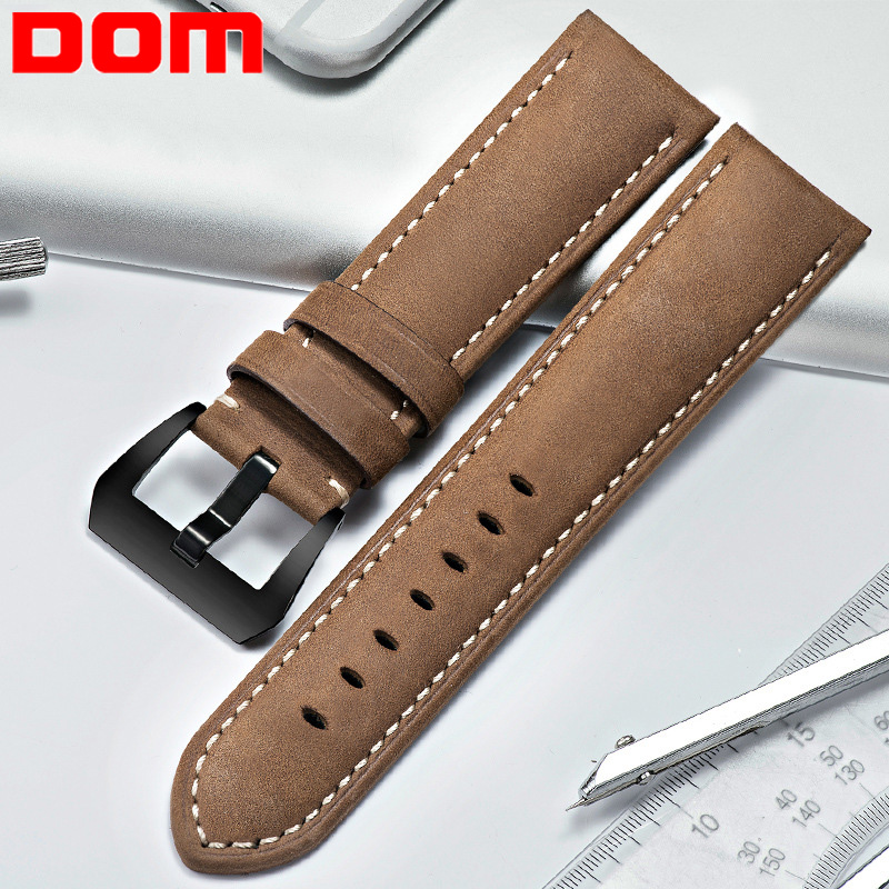 DOM Handmade Genuine Leather 4 Color Watch Accessories Vintage Men 24mm 26mm Watchband Watch Strap & Watch Band