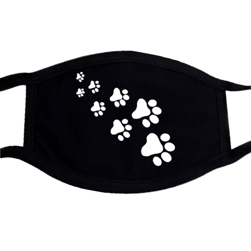 Cat Paws Printed Cartoon Lovely Cotton Masks Festive Party Respirator Keep Warm Cotton Cute Mask Dust Mouth Muffle Mask